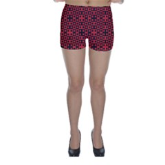 Abstract Background Red Black Skinny Shorts