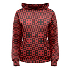 Abstract Background Red Black Women s Pullover Hoodie
