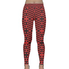 Abstract Background Red Black Classic Yoga Leggings