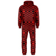 Abstract Background Red Black Hooded Jumpsuit (Men)