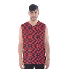 Abstract Background Red Black Men s Basketball Tank Top