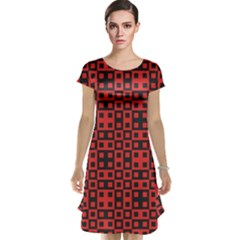 Abstract Background Red Black Cap Sleeve Nightdress