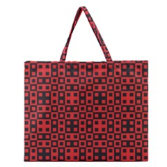 Abstract Background Red Black Zipper Large Tote Bag
