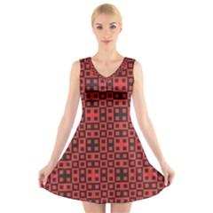 Abstract Background Red Black V Neck Sleeveless Skater Dress