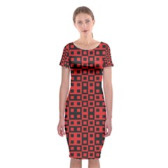 Abstract Background Red Black Classic Short Sleeve Midi Dress