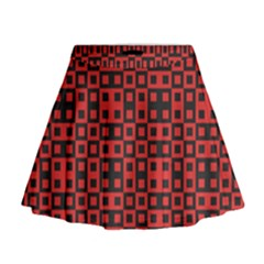 Abstract Background Red Black Mini Flare Skirt