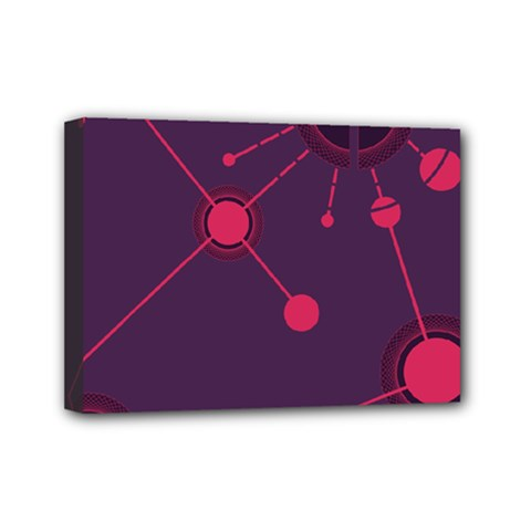 Abstract Lines Radiate Planets Web Mini Canvas 7  X 5