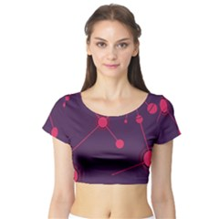 Abstract Lines Radiate Planets Web Short Sleeve Crop Top (Tight Fit)