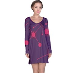 Abstract Lines Radiate Planets Web Long Sleeve Nightdress