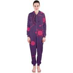 Abstract Lines Radiate Planets Web Hooded Jumpsuit (Ladies)