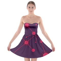 Abstract Lines Radiate Planets Web Strapless Bra Top Dress