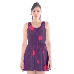 Abstract Lines Radiate Planets Web Scoop Neck Skater Dress