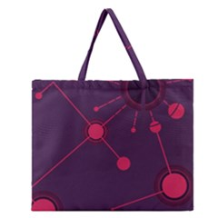 Abstract Lines Radiate Planets Web Zipper Large Tote Bag