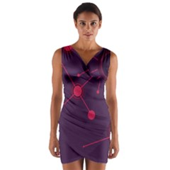 Abstract Lines Radiate Planets Web Wrap Front Bodycon Dress