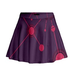 Abstract Lines Radiate Planets Web Mini Flare Skirt