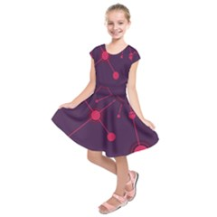 Abstract Lines Radiate Planets Web Kids  Short Sleeve Dress