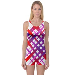 Chaos Bright Gradient Red Blue One Piece Boyleg Swimsuit