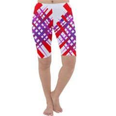 Chaos Bright Gradient Red Blue Cropped Leggings