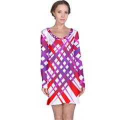 Chaos Bright Gradient Red Blue Long Sleeve Nightdress