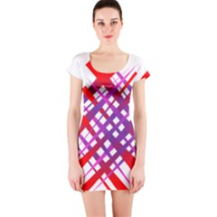 Chaos Bright Gradient Red Blue Short Sleeve Bodycon Dress