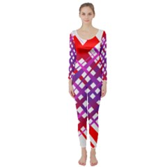 Chaos Bright Gradient Red Blue Long Sleeve Catsuit