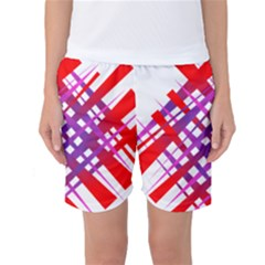 Chaos Bright Gradient Red Blue Women s Basketball Shorts