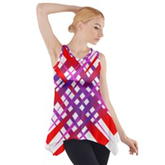 Chaos Bright Gradient Red Blue Side Drop Tank Tunic