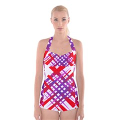 Chaos Bright Gradient Red Blue Boyleg Halter Swimsuit
