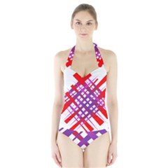 Chaos Bright Gradient Red Blue Halter Swimsuit