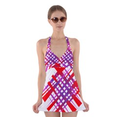 Chaos Bright Gradient Red Blue Halter Swimsuit Dress