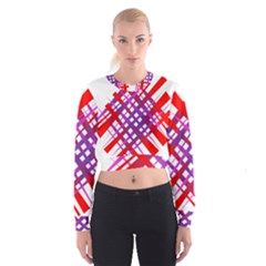 Chaos Bright Gradient Red Blue Cropped Sweatshirt