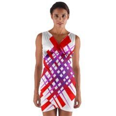 Chaos Bright Gradient Red Blue Wrap Front Bodycon Dress