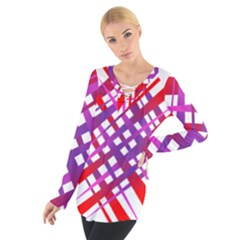 Chaos Bright Gradient Red Blue Women s Tie Up Tee