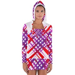 Chaos Bright Gradient Red Blue Women s Long Sleeve Hooded T-shirt