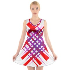 Chaos Bright Gradient Red Blue V Neck Sleeveless Skater Dress