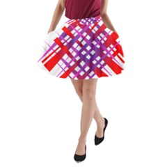 Chaos Bright Gradient Red Blue A-Line Pocket Skirt