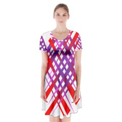 Chaos Bright Gradient Red Blue Short Sleeve V Neck Flare Dress