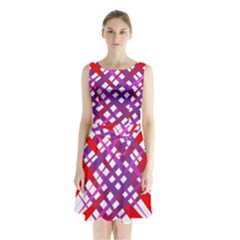 Chaos Bright Gradient Red Blue Sleeveless Chiffon Waist Tie Dress
