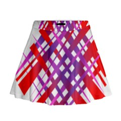 Chaos Bright Gradient Red Blue Mini Flare Skirt