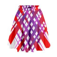 Chaos Bright Gradient Red Blue High Waist Skirt