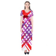 Chaos Bright Gradient Red Blue Short Sleeve Maxi Dress