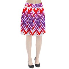 Chaos Bright Gradient Red Blue Pleated Skirt