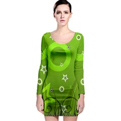 Art About Ball Abstract Colorful Long Sleeve Bodycon Dress