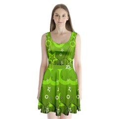 Art About Ball Abstract Colorful Split Back Mini Dress