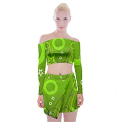 Art About Ball Abstract Colorful Off Shoulder Top With Skirt Set