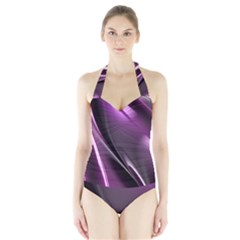 Fractal Mathematics Abstract Halter Swimsuit