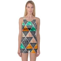 Abstract Geometric Triangle Shape One Piece Boyleg Swimsuit