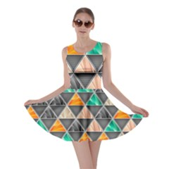 Abstract Geometric Triangle Shape Skater Dress