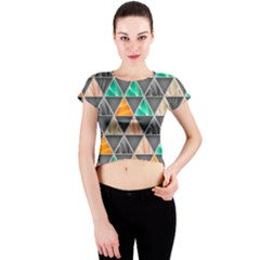 Abstract Geometric Triangle Shape Crew Neck Crop Top