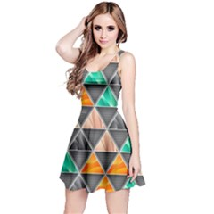 Abstract Geometric Triangle Shape Reversible Sleeveless Dress